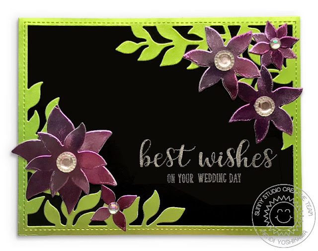 Sunny Studio Stamps: Botanical Backdrop Best Wishes Metallic Flower Wedding Card by Mendi Yoshikawa