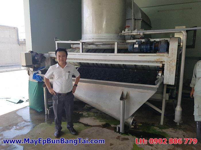 Máy ép bùn băng tải inox hiệu quả Cty Vĩnh Phát cung cấp cho một nhà máy dệt nhuộm