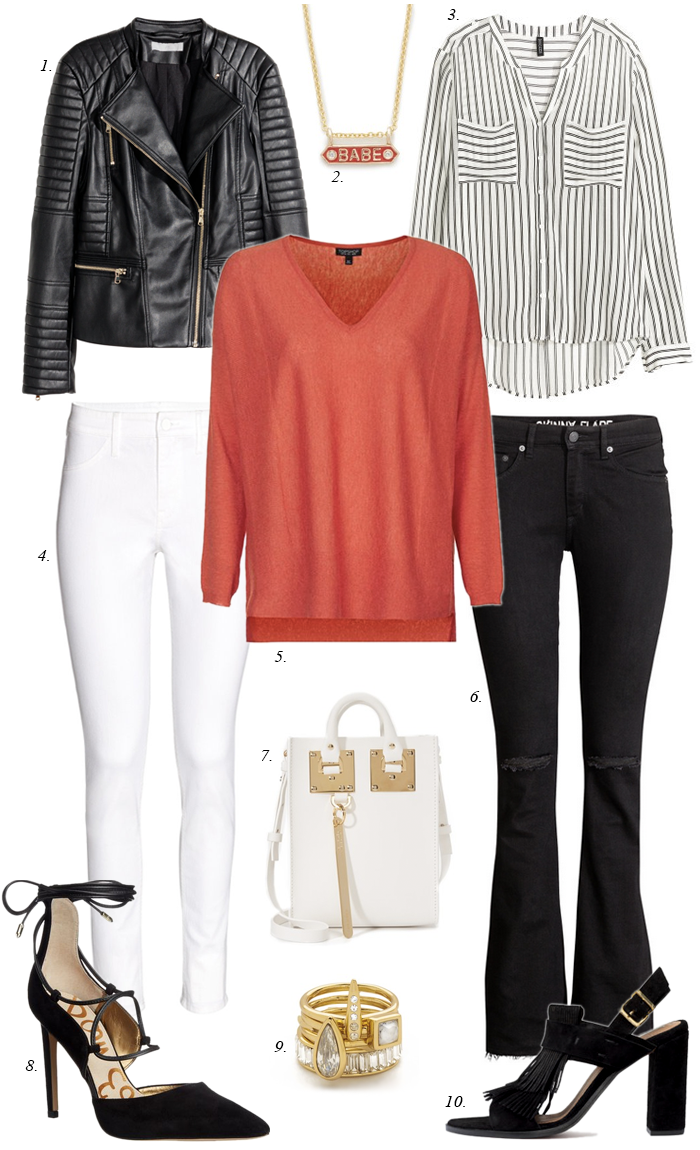 red sweater, white jeans, black jeans, moto jacket, babe necklace