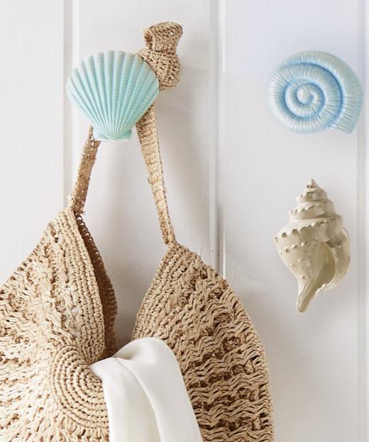 Set of 3 Shell Hooks Pastel Colors