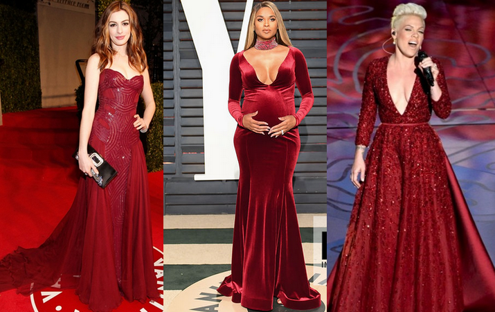 burgundy dresses Oscar
