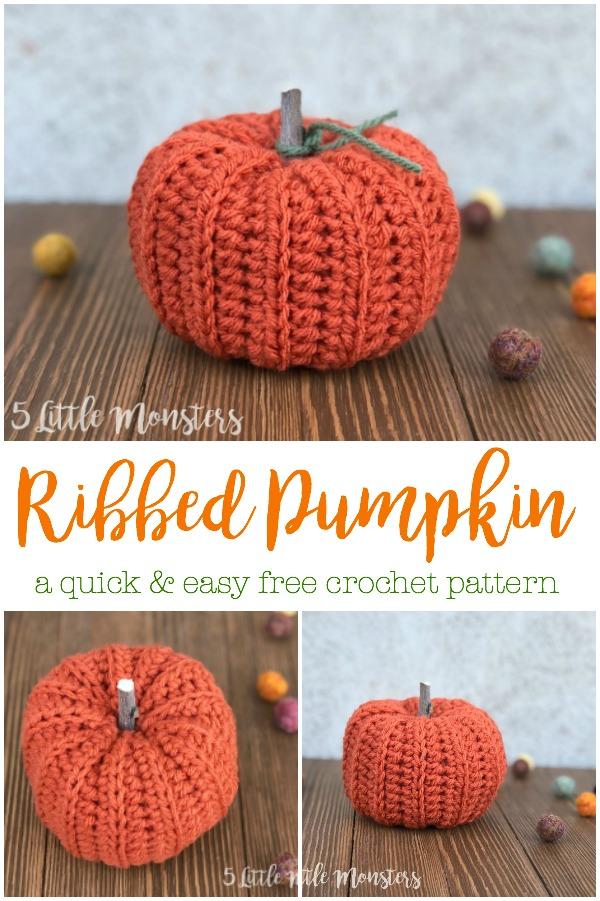 5 Little Monsters Easy Ribbed Crocheted Pumpkin