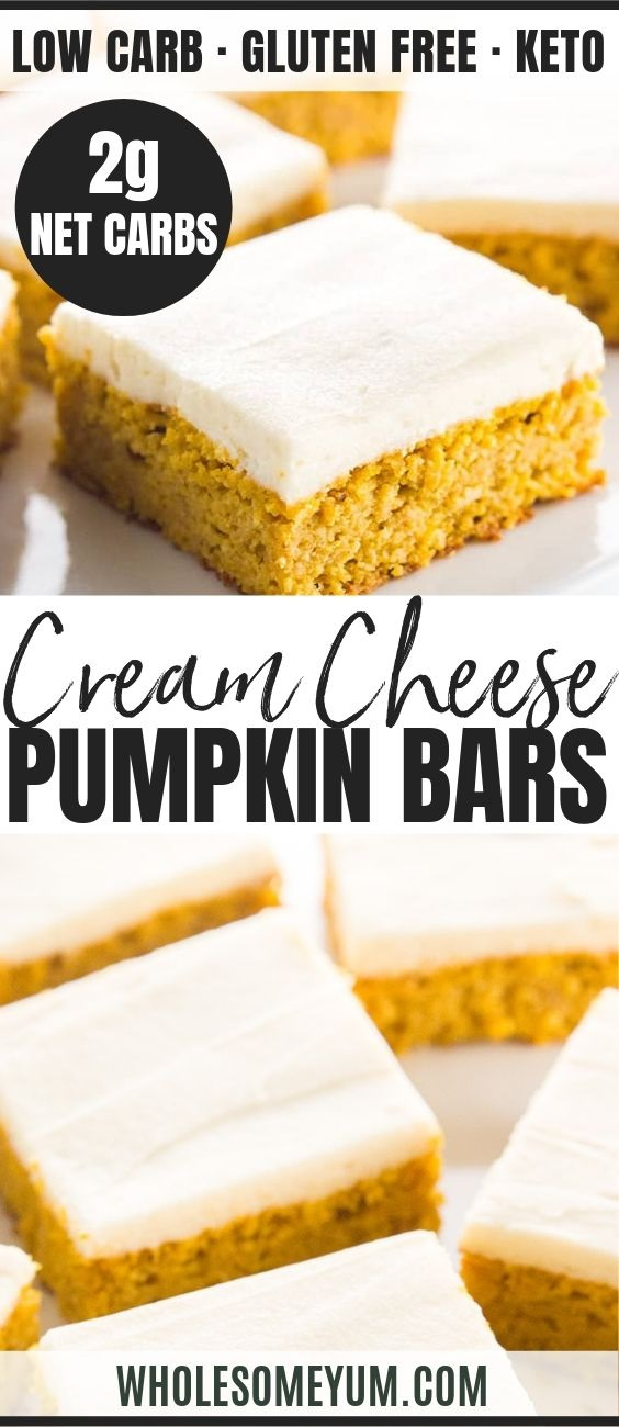 Low Carb Healthy Pumpkin Bars With Cream Cheese Frosting