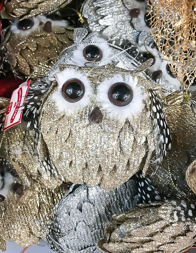 Owl ornaments from Walmart