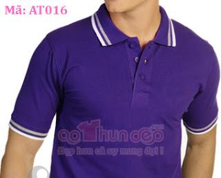áo thun đồng phục polo màu xanh dương mã at016