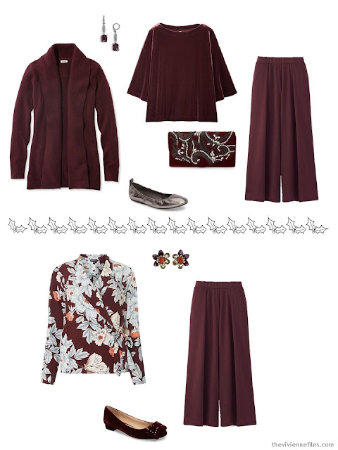 2 wine outfits for the winter holidays