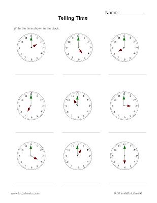 Kidz Worksheets: Kindergarten Time Worksheet6