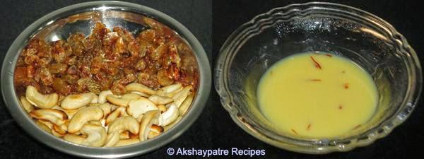 roasted cashew, raisins, soaked saffron