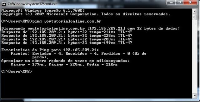 Comando ping yoututorialonline.com.br