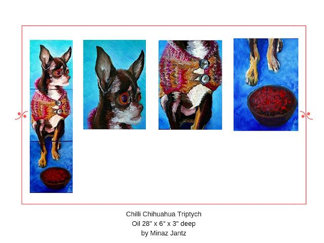 Chilli Chihuahua Triptch by Minaz Jantz