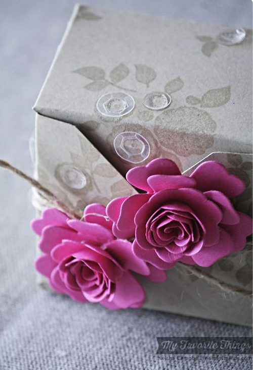 Handmade gift wrap from Keisha Campbell featuring Mini Hybrid Heirloom Rose Die-namics #mftstamps