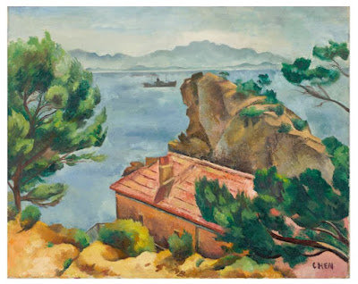 One of the highlights of the exhibition is from Singapore artist Georgette Chen. Landscape, 1930s, oil on canvas, is from the Collection of Centre Pompidou, Paris, MNAM-CCI © Dr Lee Seng Gee Photo: © Centre Pompidou, MNAMCCI/Jim Purcell/Dist. RMN-GP.