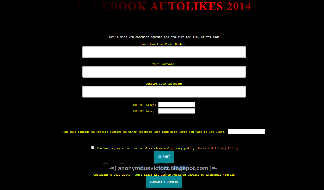 Facebook Auto Like Phishing Script ~ Anonymous Victorz