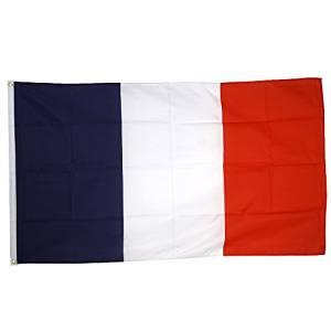 Supportersh France Drapeau de nation avec 2 œillets métalliques Bleu.Blanc.Rouge