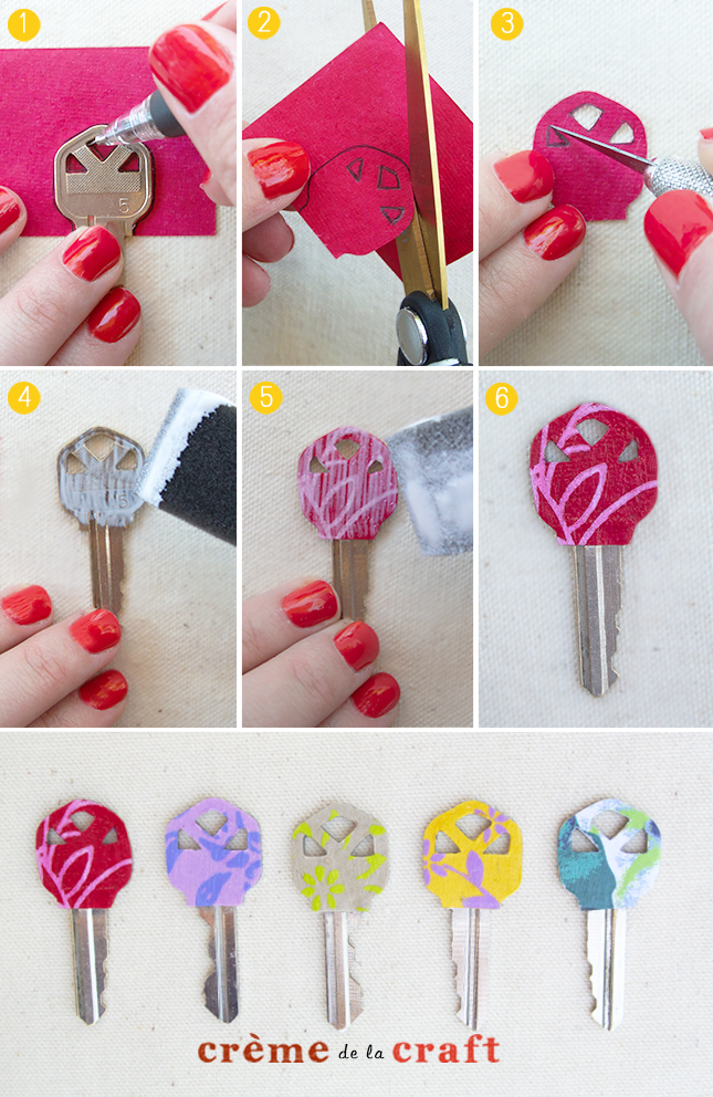 Diy personalized key covers from scrapbook paper for Diy colored paper