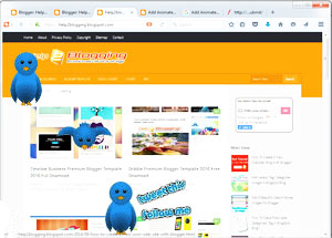 Add Animated Flying Twitter Bird On Blogger