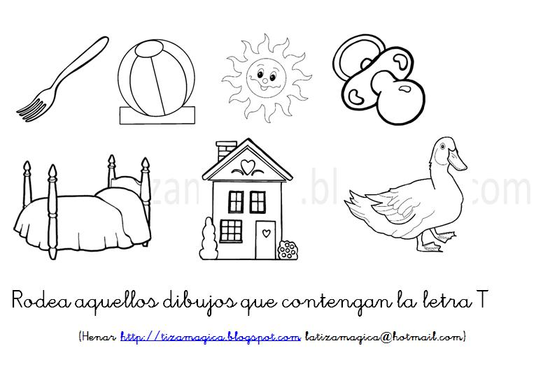 La Tiza Mágica Rodea Los Dibujos Que Contienen La Letra T