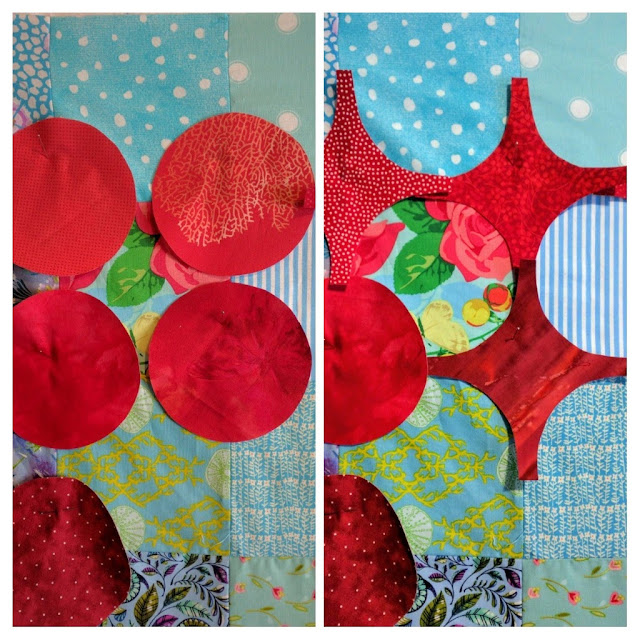 Hugs or kisses for Circular Anomaly quilt block. Double Vision quilt.