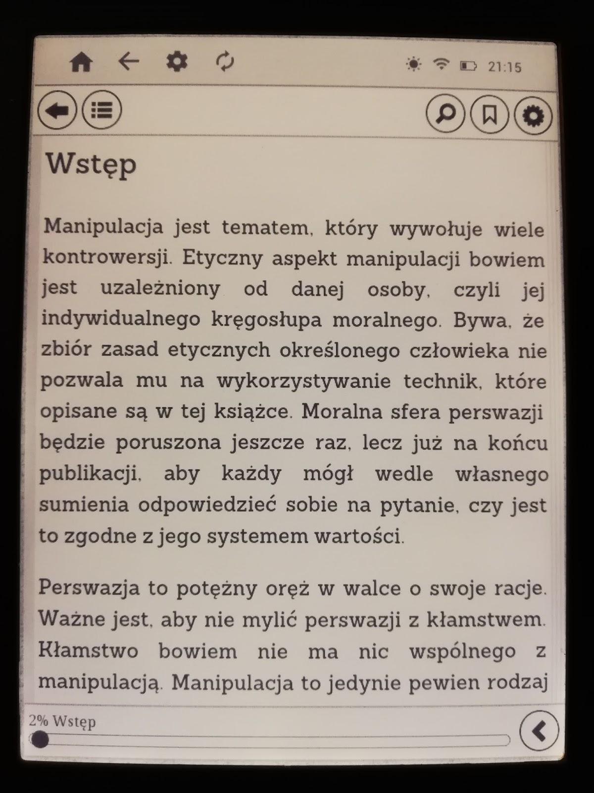 InkBOOK LUMOS – menu e-booka w aplikacji Legimi ebooks