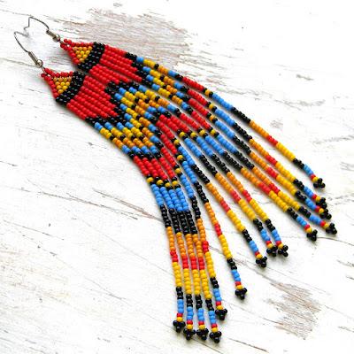 купить очень длинные красные яркие серьги из бисера ручной работы в этно-стиле