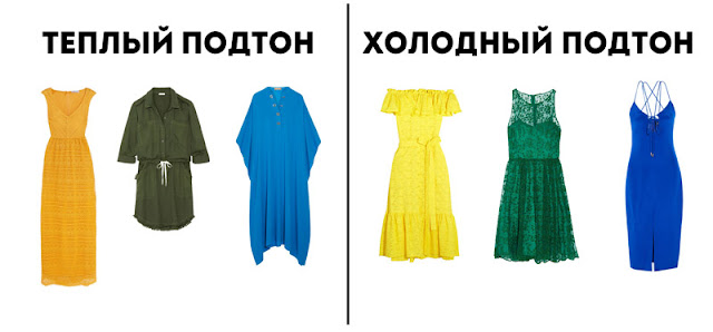 Холодные и теплые оттенки желтого, зеленого и синего