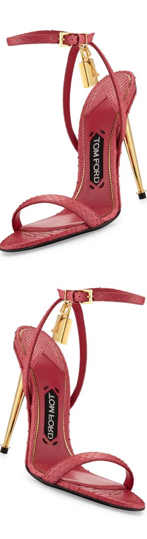 TOM FORD Lock Ankle-Wrap Python 110mm Sandal