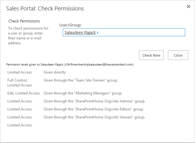 sharepoint online check user permissions powershell