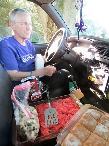 eating a picnic in the cab of a truck