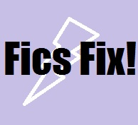 Friday Fics Fix title image with purple background and white lightning bolt