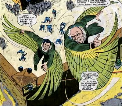 Amazing Spider-Man #63, don heck, john romita, together the original vulture and blackie drago fly away from the prison, as the helpless guards watch