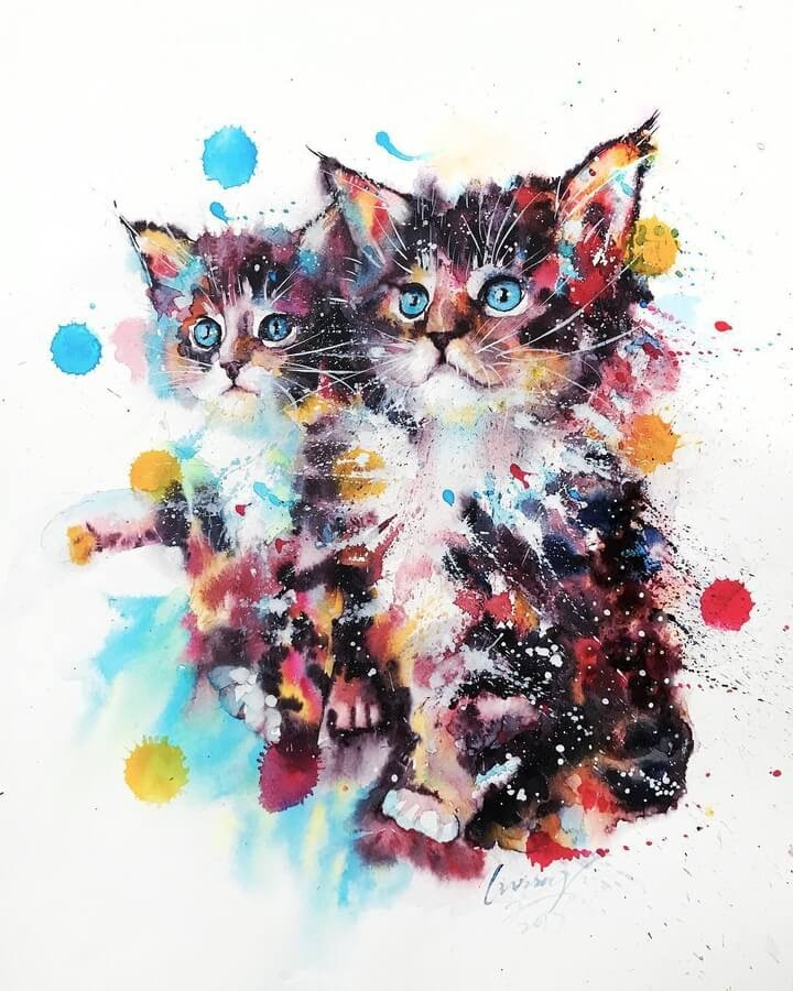 02-Cat-Watercolor-Paintings-liviing-www-designstack-co