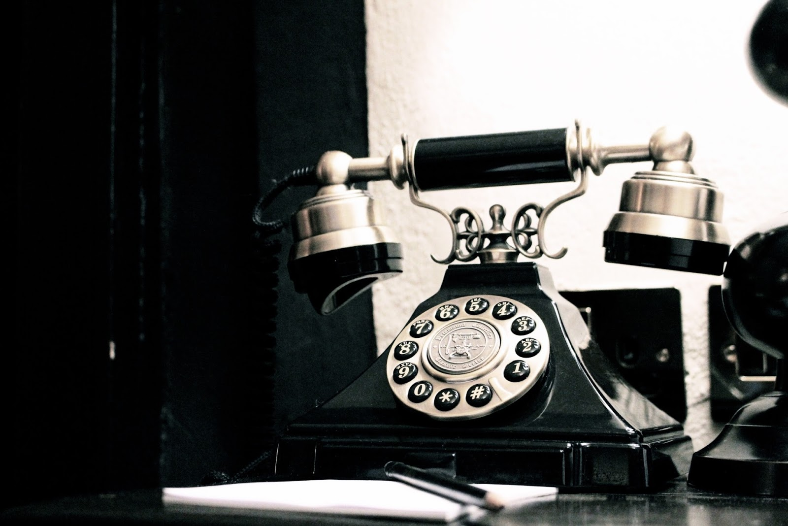 Old fashioned black telephone