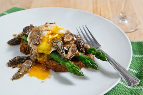 Morel and Asparagus Eggs Benedict