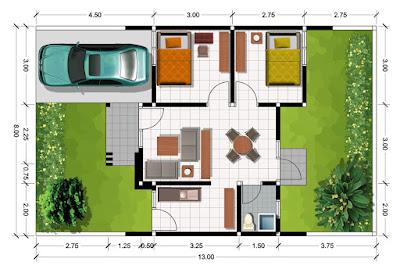 sketsa rumah minimalis tipe 45