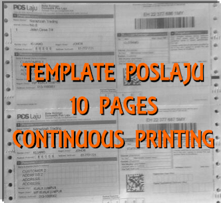 Template poslaju 10 pages Continuous Printing pos Malaysia dalam Microsoft Excel Kingsoft Spreadsheet