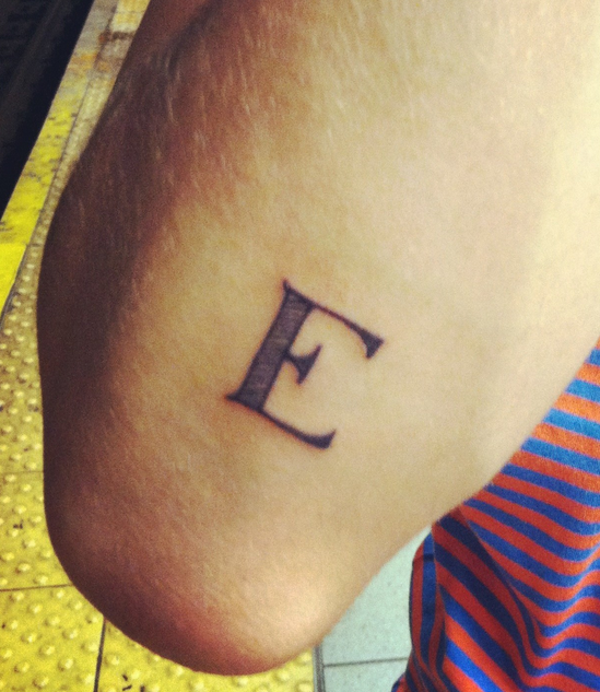 Tattoo Information Point: Alphabet ' E ' Tattoo