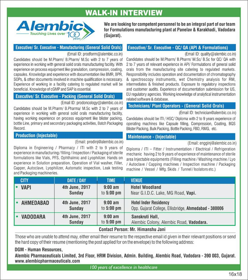 Walk In Interview For Fresher Of Alembic Pharmaceutical