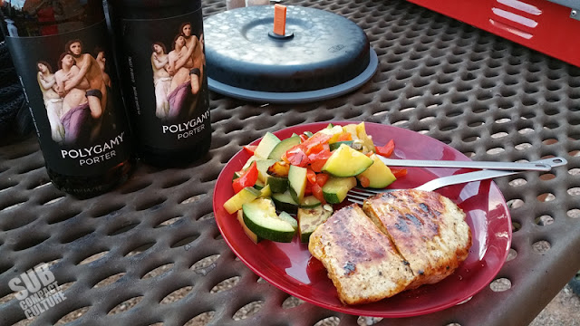 Polygamy Porter, sauteed veggies, and pork chops in Moab