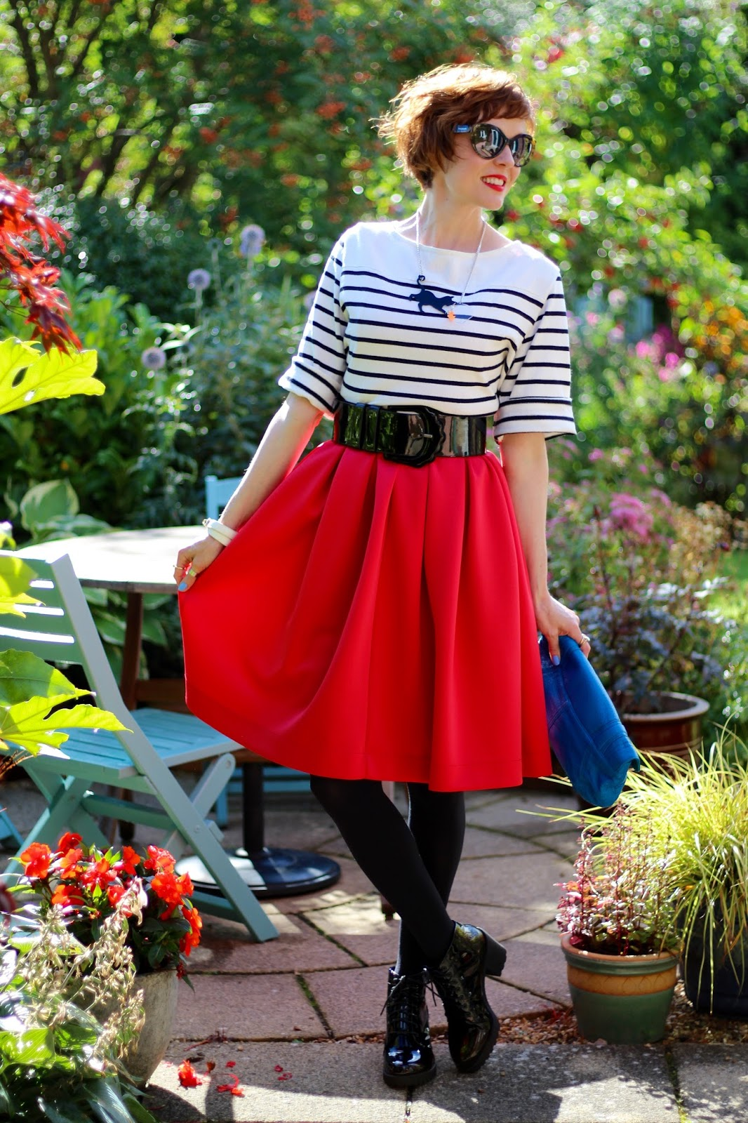 Fake Fabulous | Breton jumper, red midi skirt, chunky patent boots and belt | PPP 7