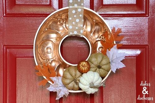 repurposed copper mold fall wreath
