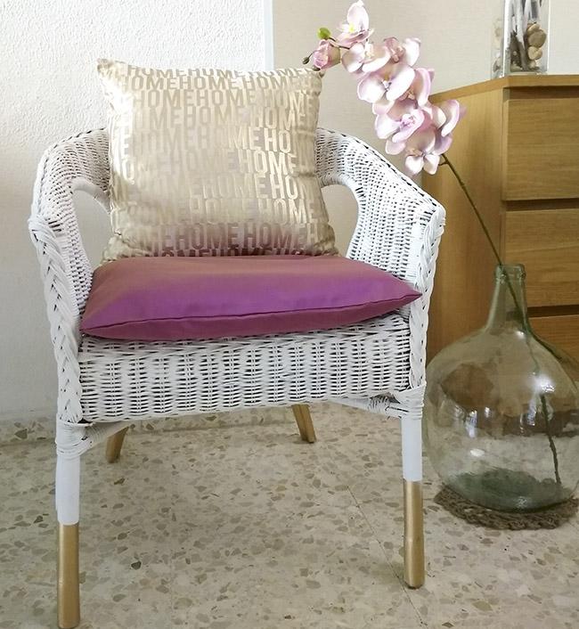Come y disfruta transforma una silla de mimbre con chalk - Cojines para sillas terraza ...
