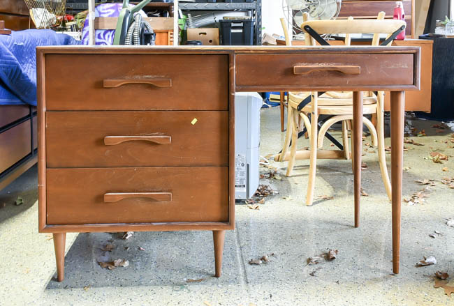 Wood mid century modern desk before