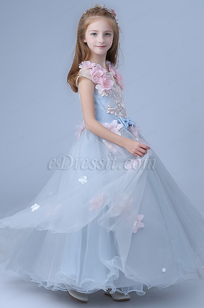 cute children wedding flower girl dress light blue