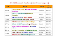 IPL 2019 Schedule & Time Table (Indian Premier League 12), IPL 2019 Schedule, full IPL 2019 Schedule final confirmed, official IPL 2019 Schedule,  Indian Premier League 12 schedule, ipl 12 schedule & fixture, teams, players, ipl 2019 schedule, match timing, IST time, GMT time, Indian time, 2019 ipl, vivo 2019 ipl schedule, Indian Primer League IPL, ipl 2019 all teams, venue, place, timing, 2019 vivo ipl, ipl 12 full fixture, live score, point table, ipl schedule, Chennai Super Kings, Royal Challengers Bangalore, Kolkata Knight Riders, Sunrisers Hyderabad, Mumbai Indians, Delhi Capitals, Rajasthan Royals, Kings XI Punjab Chennai Super Kings, Royal Challengers Bangalore, Kolkata Knight Riders, Sunrisers Hyderabad, Mumbai Indians, Delhi Capitals, Rajasthan Royals, Kings XI Punjab