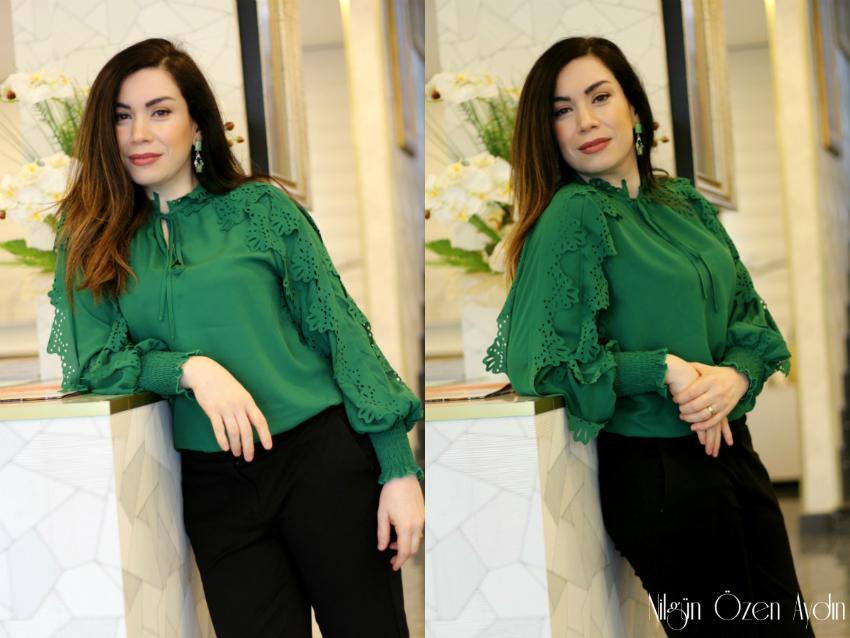 moda blogu-fashion blogger-Leopar Peluş Ceket ve Yeşil Gömlek