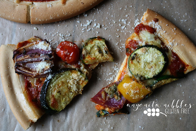Two slices of the best ever gluten free veggie supreme pizza by Anyonita Nibbles