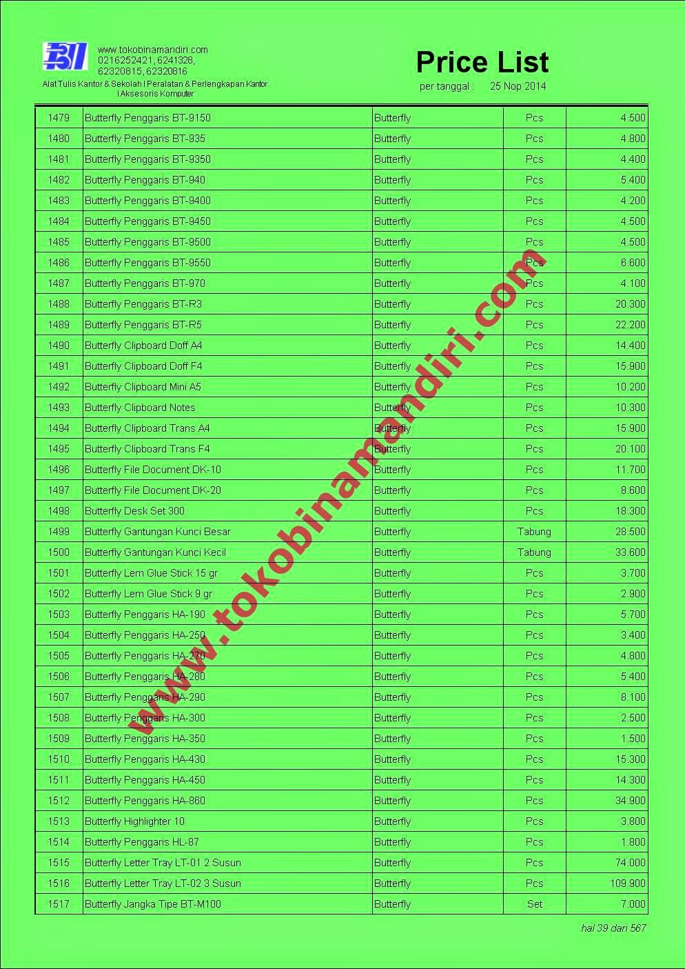 Daftar Harga Alat Tulis ATK039 - Clipboard Butterfly