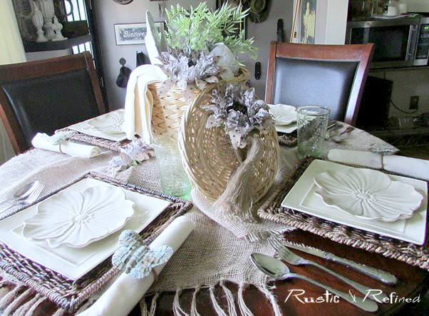 rattan wicker chargers for a spring tablescape