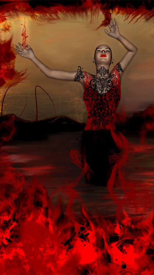 Red Fire Woman   Galaxy Note HD Wallpaper