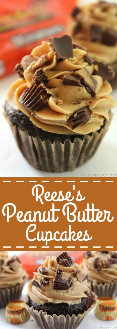 These Reese's Peanut Butter Cupcakes are perfect for all of you that are fans of peanut butter and chocolate. We start with a simple chocolate cupcake stuffed with a Reese's Miniature then topped with a creamy peanut butter frosting.